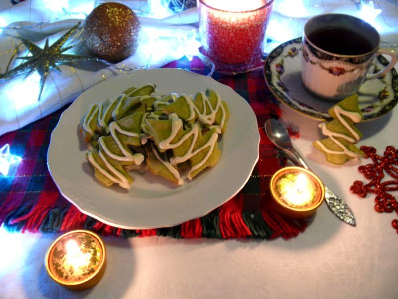 zielone ciasteczka choinki