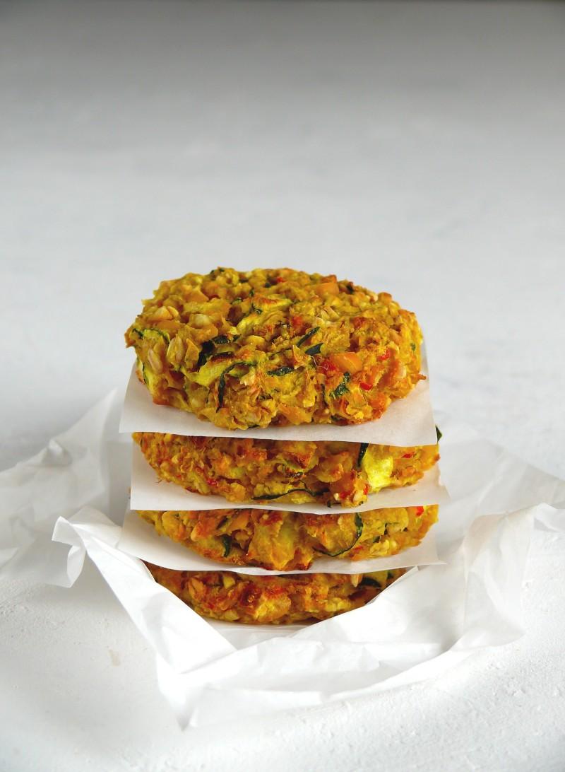 fit wegańskie placki z cukinią i cieciorką pieczone z piekarnika