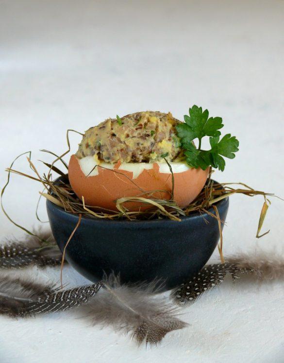 faszerowane jajka z pieczarkami Wielkanoc pieczarki