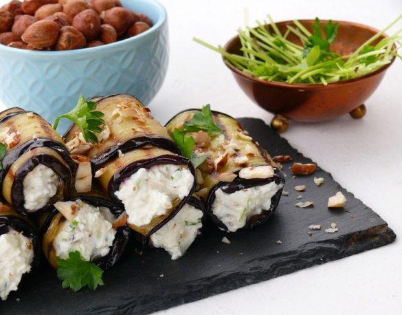 roladki z grillowanego bakłażana z pastą serową inspirowane kuchnią gruzińską